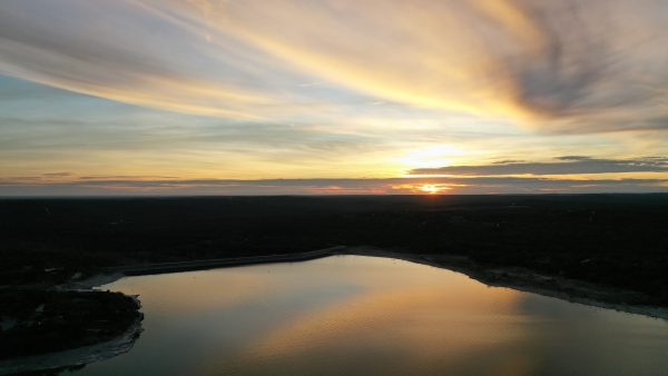 Aerial sunset view of Medina Lake - February 2020